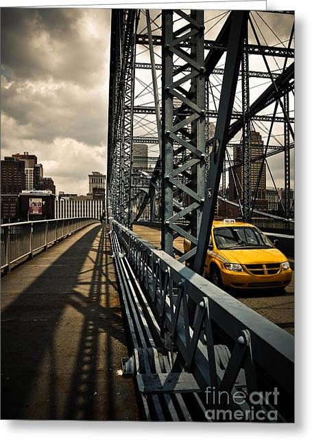 Allegheny Greeting Cards - Taxi Crossing Smithfield Street Bridge Pittsburgh Pennsylvania Greeting Card by Amy Cicconi