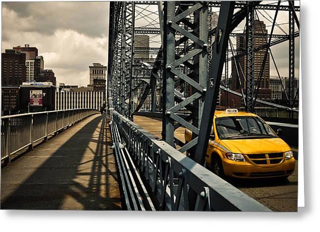 Taxi Crossing Smithfield Street Bridge Pittsburgh Pennsylvania Greeting Card by Amy Cicconi