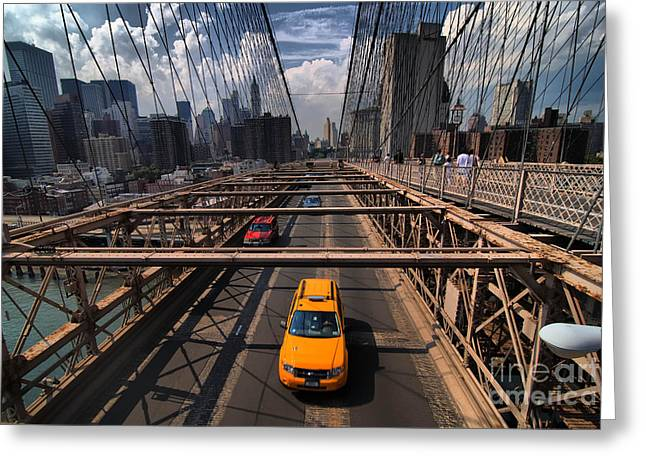 Taxi Crossing the Brooklyn Bridge Greeting Card by Amy Cicconi
