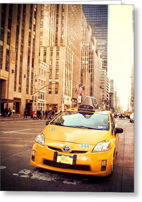 Hail A Cab Greeting Cards - Taxi Greeting Card by Dan Sproul