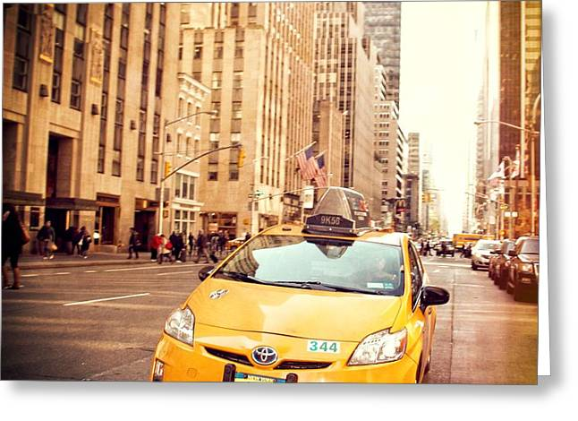 Taxi Greeting Card by Dan Sproul