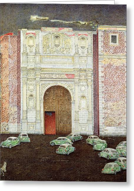 Dog Photographs Greeting Cards - Taxi Depot, San Lazaro, Mexico City, 2003 Oil On Canvas Greeting Card by James Reeve