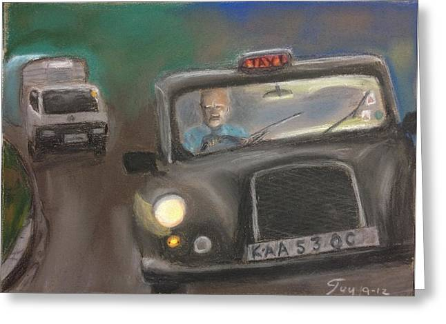 London Pastels Greeting Cards - Taxi driver Greeting Card by Guy Elhanani
