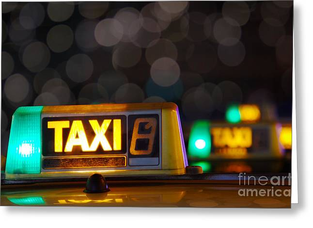 Fares Greeting Cards - Taxi signs Greeting Card by Carlos Caetano