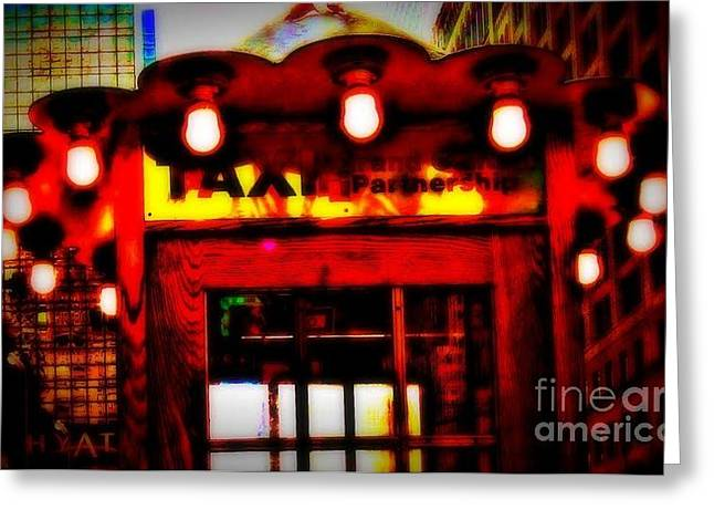 Taxi Stands Greeting Cards - Taxi Stand with Lights Greeting Card by Miriam Danar