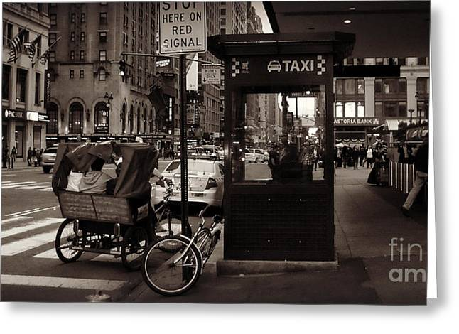 Pensive Greeting Cards - Taxi Stand with Pedicab and Woman Greeting Card by Miriam Danar