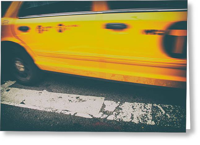 Fast Taxi Greeting Cards - Taxi Taxi Greeting Card by Karol  Livote
