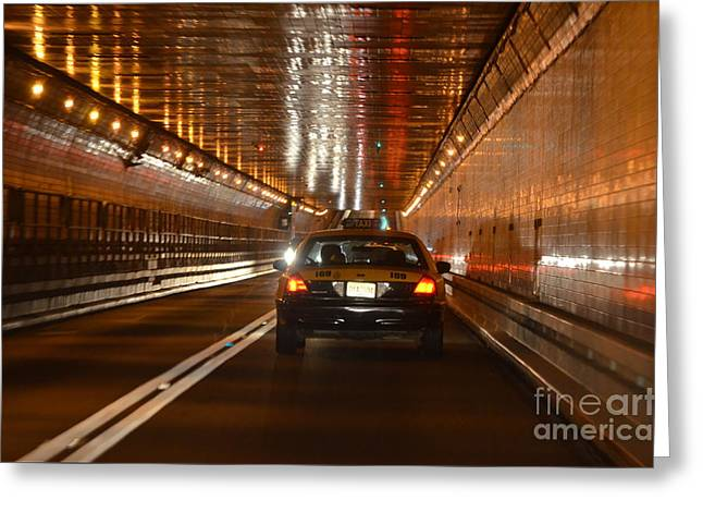 Nyc Taxi Greeting Cards - Taxi Tunnel Lights Photography Greeting Card by Adspice Studios
