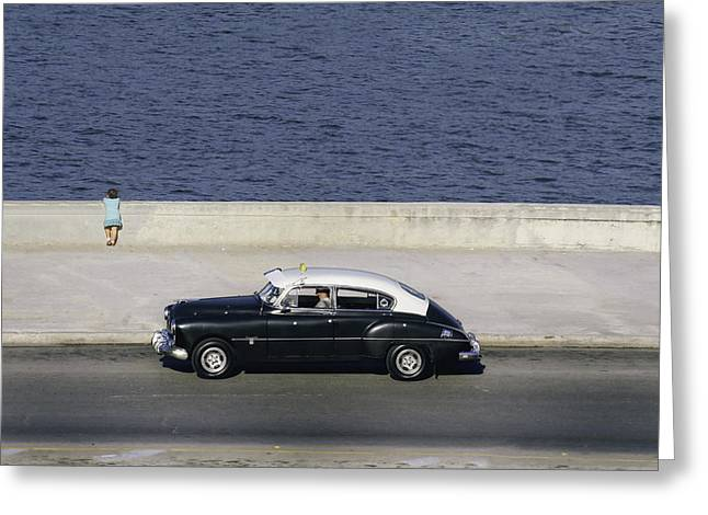 Malecon Greeting Cards - Taxiing along the Malecon.. Greeting Card by A Rey