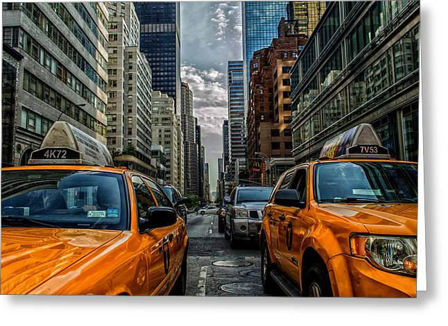 Congestion Greeting Cards - Taxis of New York City Greeting Card by Mountain Dreams