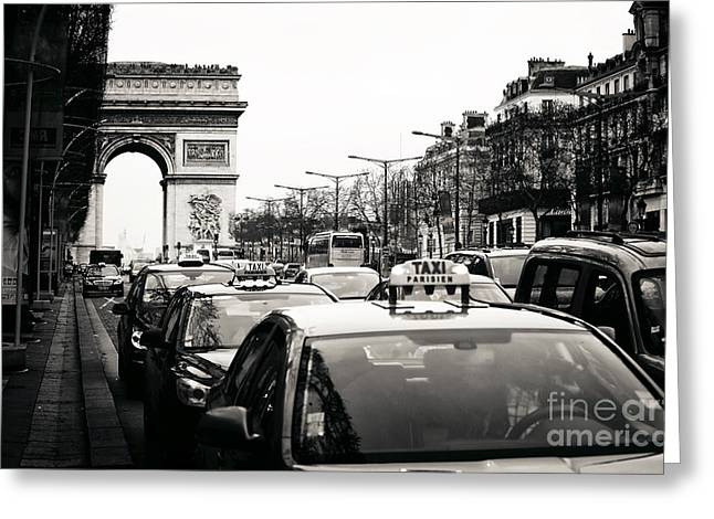 Champs Elysees Greeting Cards - Taxis on Champs-Elysees Greeting Card by John Rizzuto