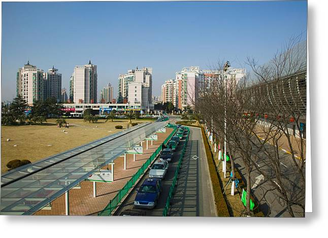 Pudong Greeting Cards - Taxis Parked Outside A Maglev Train Greeting Card by Panoramic Images