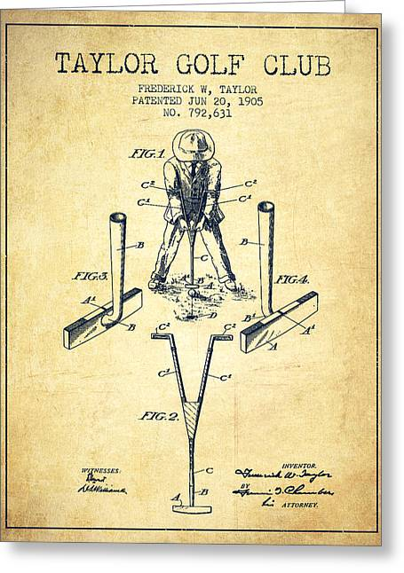 Ball Room Greeting Cards - Taylor Golf Club Patent Drawing from 1905 - Vintage Greeting Card by Aged Pixel