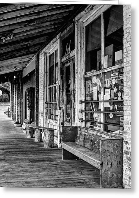 Grocery Store Greeting Cards - Taylor Grocery BW Greeting Card by JC Findley