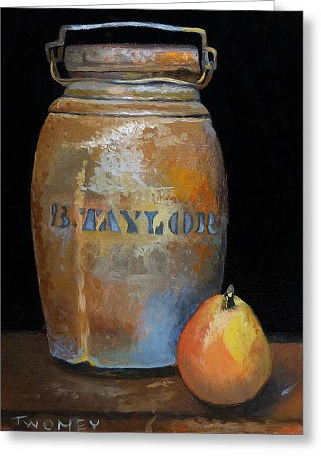 Taylor Jug With Pear Greeting Card by Catherine Twomey