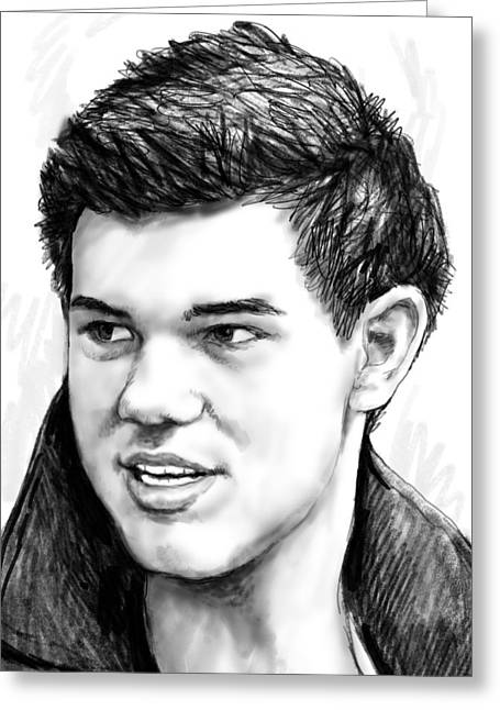 1992 Greeting Cards - Taylor-lautner art drawing sketch portrait Greeting Card by Kim Wang