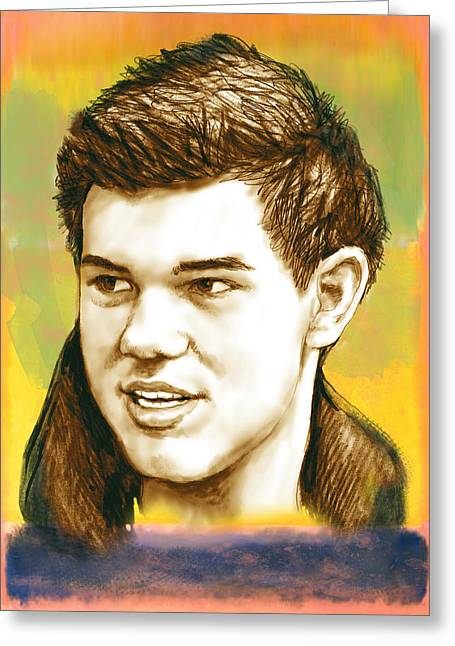 Same Greeting Cards - Taylor Lautner - stylised drawing art poster Greeting Card by Kim Wang