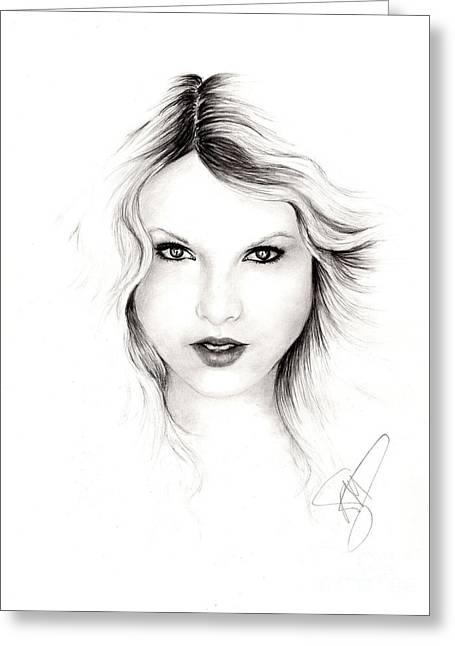 Charcoal Portrait Greeting Cards - Taylor Swift 3 Greeting Card by Rosalinda Markle