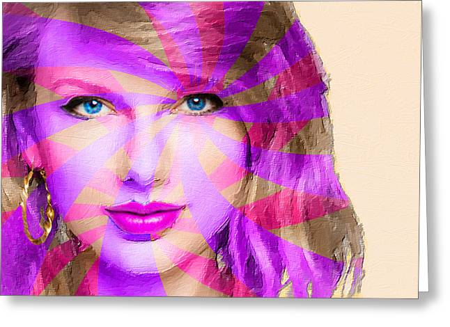 Pop Singer Mixed Media Greeting Cards - Taylor Swift Pink Horizontal Greeting Card by Tony Rubino