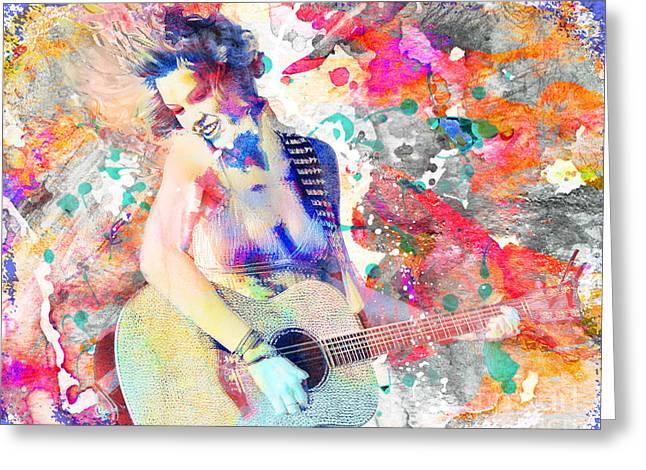 Taylor Guitar Greeting Cards - Taylor Swift Art Print Greeting Card by Ryan RockChromatic