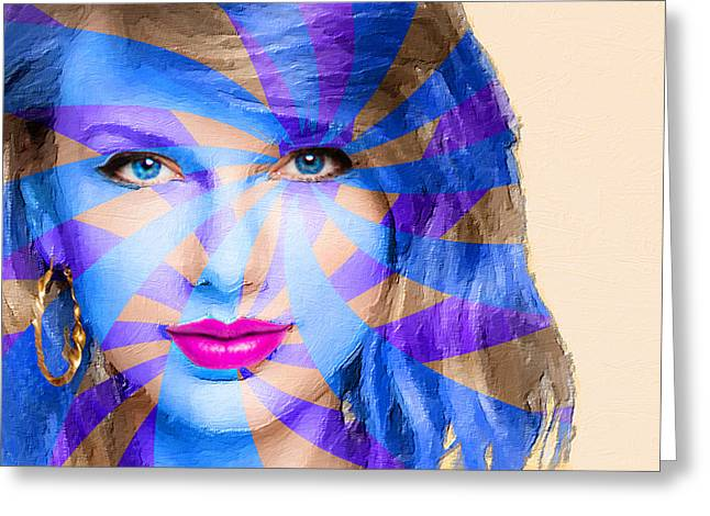 Pop Singer Mixed Media Greeting Cards - Taylor Swift Blue Horizontal Greeting Card by Tony Rubino