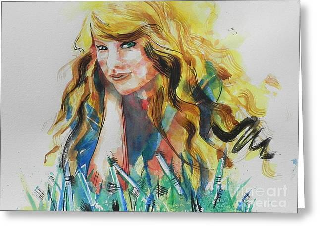 Famous Artist Greeting Cards - Taylor Swift Greeting Card by Chrisann Ellis