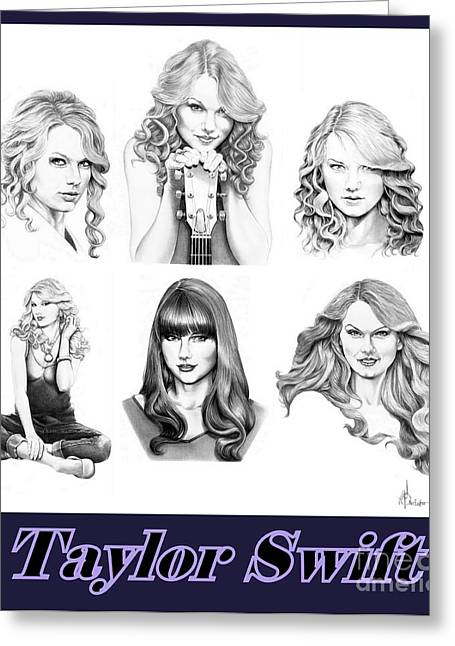 Taylor Swift Greeting Cards - Taylor Swift Collection Greeting Card by Murphy Elliott