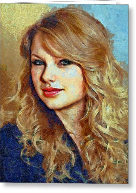 Taylor Swift Paintings Greeting Cards - Taylor Swift Greeting Card by Nikola Durdevic