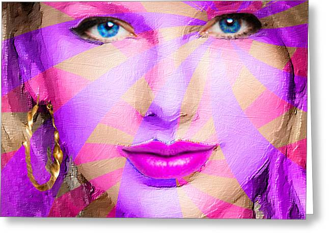 Pop Singer Greeting Cards - Taylor Swift Pink Square Greeting Card by Tony Rubino