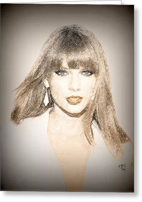 Taylor Swift Greeting Cards - Taylor Swift Sketch Greeting Card by Anibal Diaz