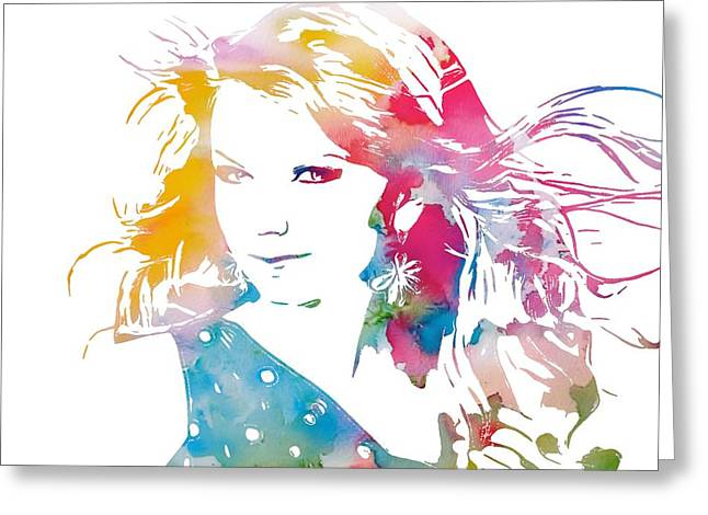 Fame Mixed Media Greeting Cards - Taylor Swift Watercolor Greeting Card by Dan Sproul