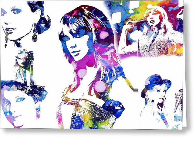 Madison Square Garden Mixed Media Greeting Cards - Taylor Swift - Watercolor Greeting Card by Michael Braham