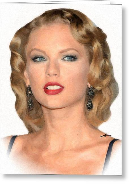 Country And Western Greeting Cards - TaylorSwift Greeting Card by Anthony Caruso