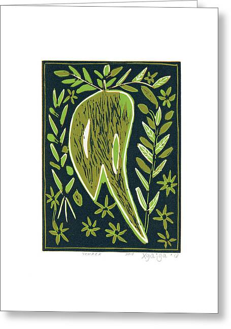 Linocut Paintings Greeting Cards - Tchaba Greeting Card by Xgaiga
