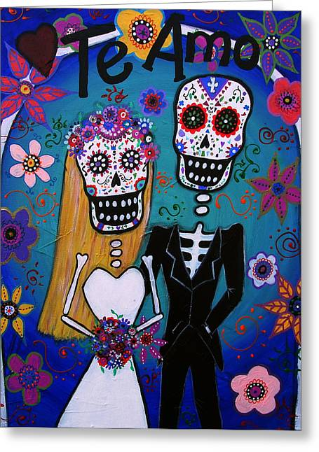 Wedding Couple Day Of The Dead Dia De Los Muertos Anniversary Gift Te Amo Prisarts Pristine Cartera Turkus Bride Flowers Blooms Love Mexican Art Folk Town For Sale Original Greeting Cards - Te Amo Wedding Dia De Los Muertos Greeting Card by Pristine Cartera Turkus