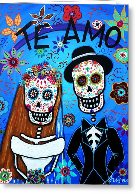 Turkus Greeting Cards - Te Amo Wedding Greeting Card by Pristine Cartera Turkus
