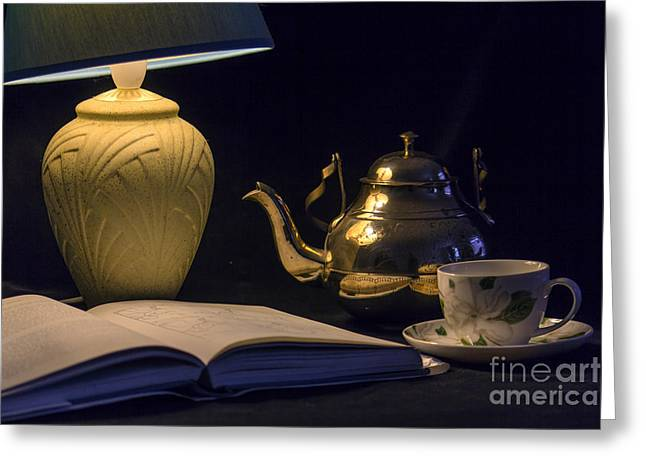 Still Life Photographs Greeting Cards - Tea and a Good Book Greeting Card by Brian Roscorla