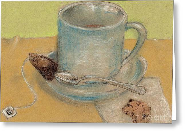 Break Drawings Greeting Cards - Tea And Chocolate Chips Greeting Card by P J Lewis