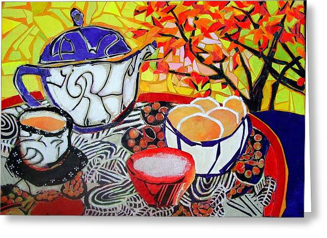 Diane Fine Greeting Cards - Tea and Eggs  Greeting Card by Diane Fine