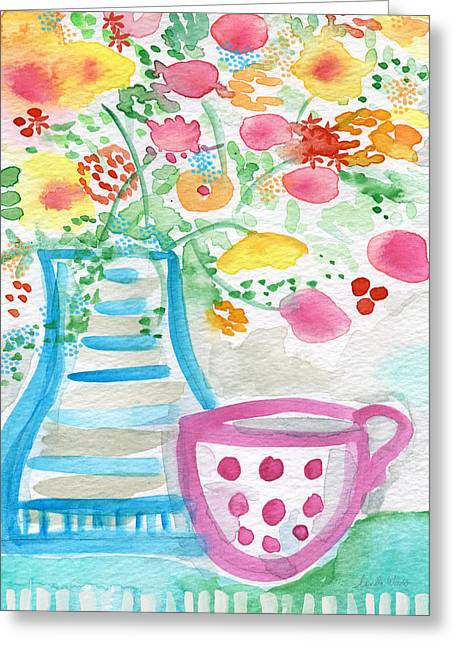 Flower Still Life Mixed Media Greeting Cards - Tea and Fresh Flowers- whimsical floral painting Greeting Card by Linda Woods