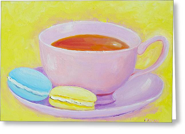Modern Canvas Art Photo Greeting Cards - Tea and macaroons Greeting Card by Jan Matson