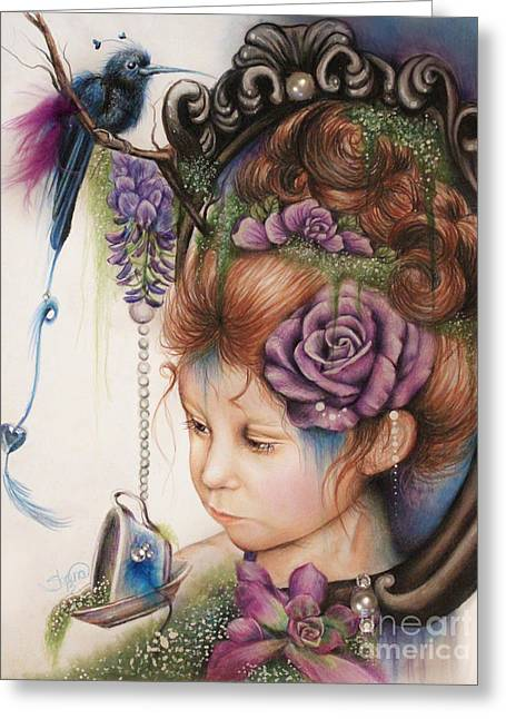 Recently Sold -  - Pop Mixed Media Greeting Cards - Tea and PeriWinkle Greeting Card by Sheena Pike