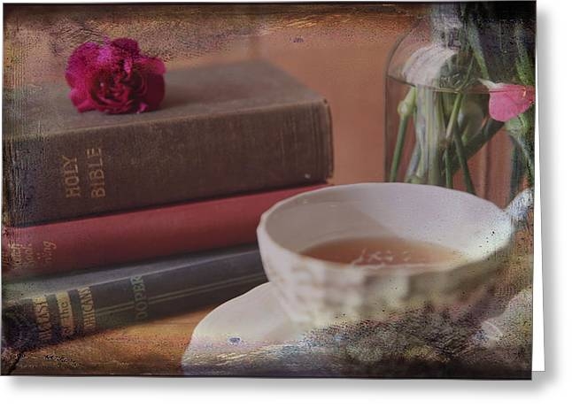 Scripture Cards Greeting Cards - Tea and Verses Greeting Card by Toni Hopper