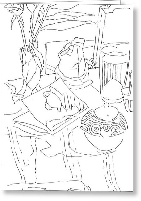 Table And Chairs Drawings Greeting Cards - Tea at Cloud 9 Greeting Card by Lazaros Kalogirou