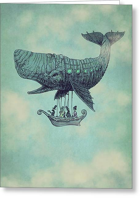 Whale Drawings Greeting Cards - Tea at Two Thousand Feet Greeting Card by Eric Fan