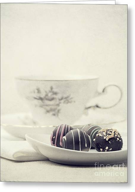 White China Cup Greeting Cards - Tea Break Greeting Card by Edward Fielding