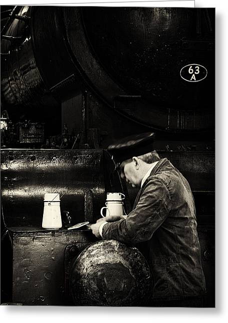 Historical Re-enactments Greeting Cards - Tea break in the engine shed. Greeting Card by Mick Gosling