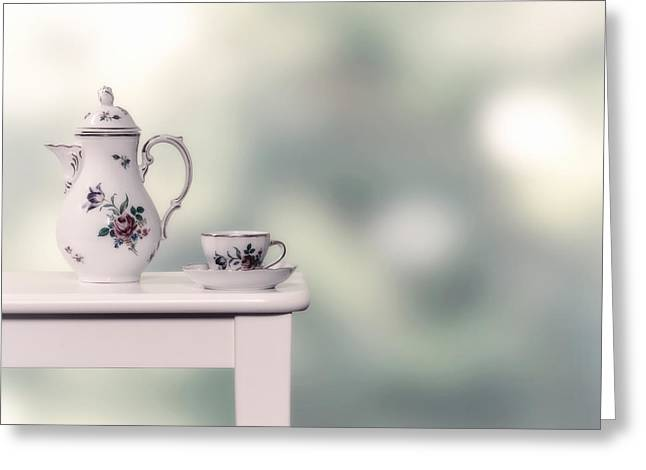 Cup Photographs Greeting Cards - Tea Cup And Pot Greeting Card by Joana Kruse