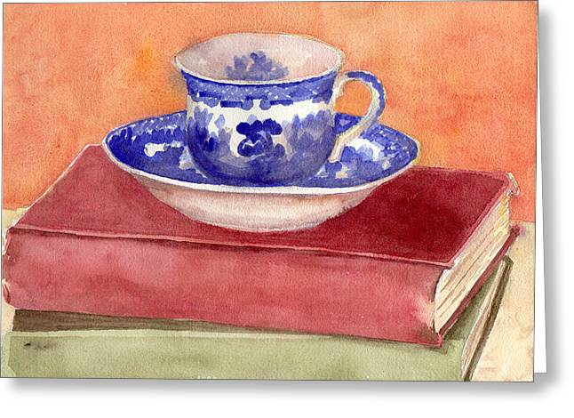 Teacup Greeting Cards - Tea Cup on Stack of Books  Greeting Card by Blenda Studio