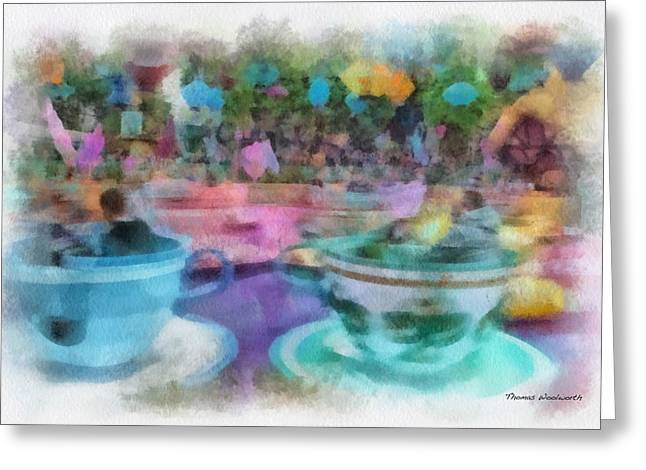 Mad Hatter Greeting Cards - Tea Cup Ride Fantasyland Disneyland PA 01 Greeting Card by Thomas Woolworth